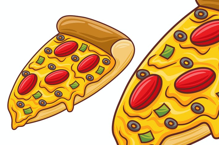 Pizza Vector in Flat Design Style