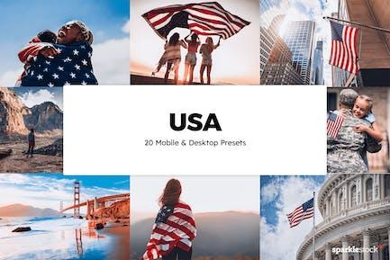 20 USA Lightroom Presets & LUTs