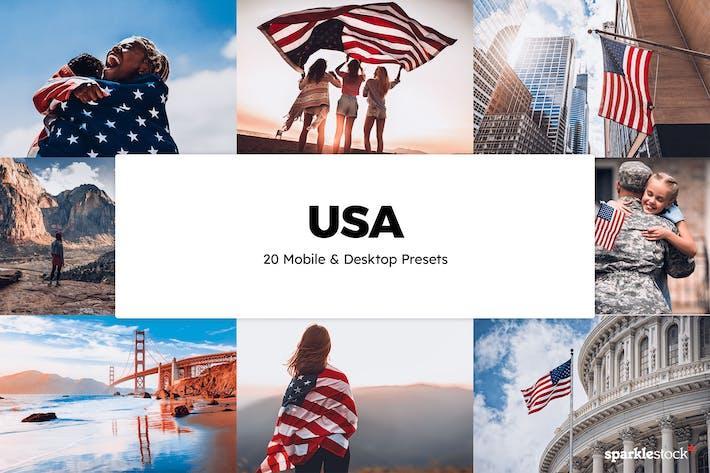 20 предустановок и LUT Lightroom США