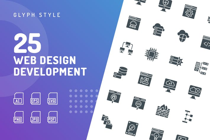 Thumbnail for Web Design Development Glyph Icons