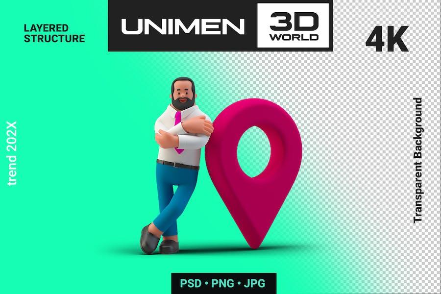 Businessman 3D with Geotarget Point Navigation
