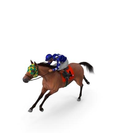 Bay Racing Horse with Jockey Running Fur