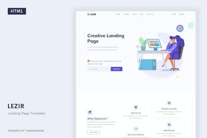 Thumbnail for Lezir - Landing Page Template