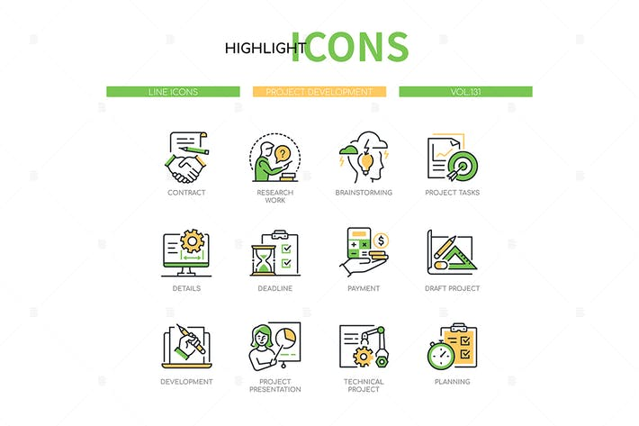 Project development - line design style icons