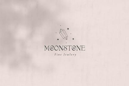 Moonstone Pre-Made Brand Logo Design. Crystal Logo