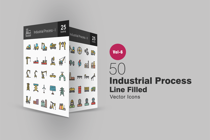 Thumbnail for 50 Industrial Process Filled Line Icons