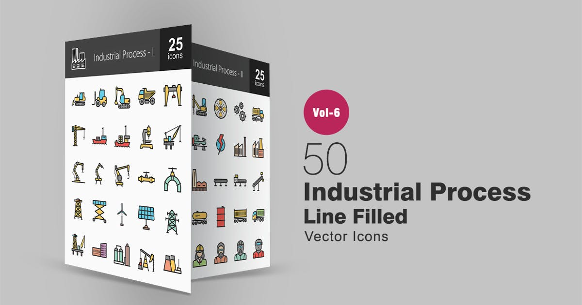 50 Industrial Process Filled Line Icons by IconBunny