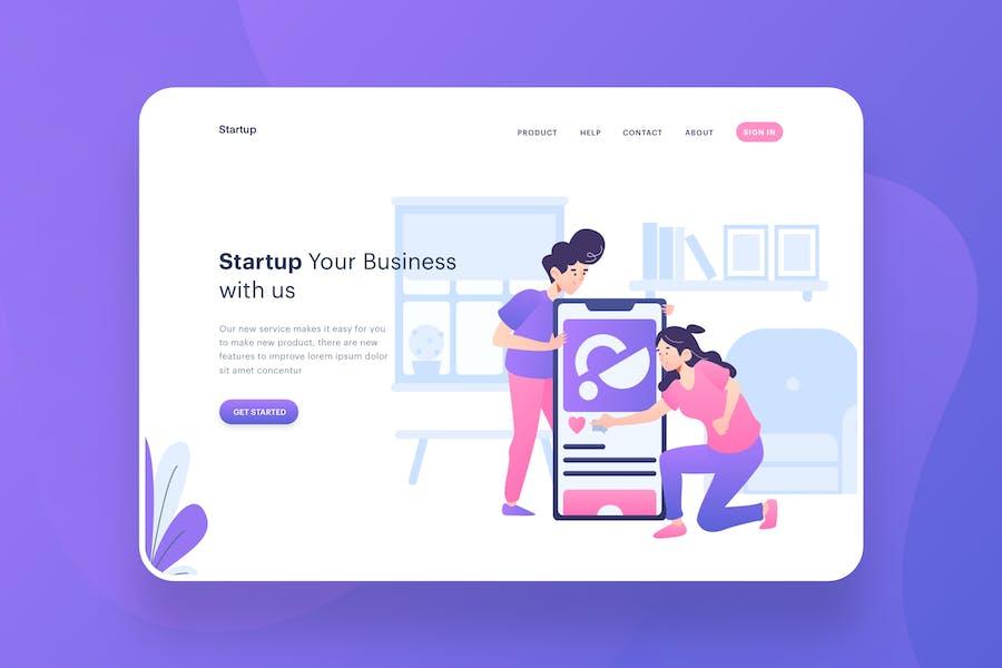 Start Up Illustration - Website Header