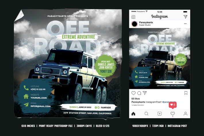 Off Road Square Flyer & Instagram Post