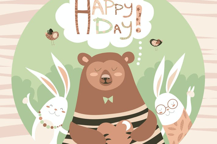 Thumbnail for Cute bear and bunny friends. Vector illustration