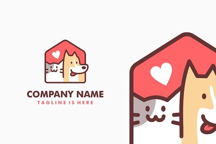 Dog Cat Pet House Logo