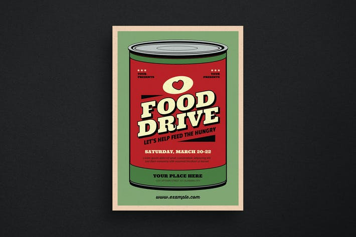 Thumbnail for Retro Food Drive Event Flyer