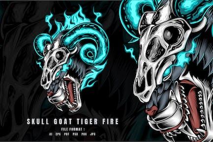 Schädel Ziege Tiger Fire
