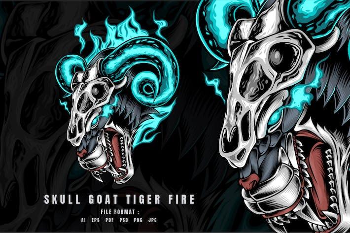 Skull Goat Tiger Fire