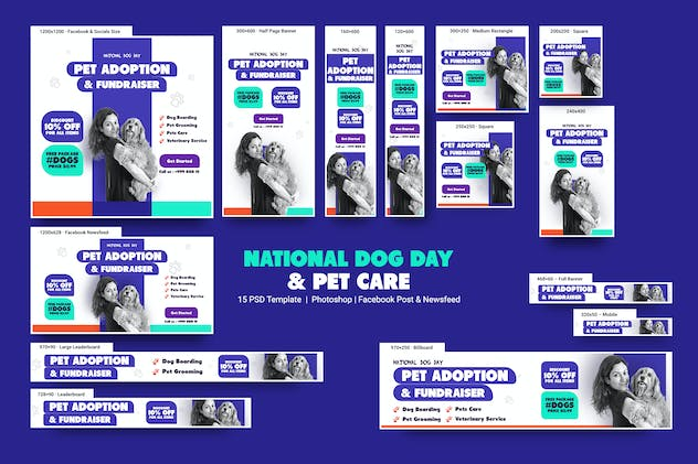 National Dog Day and Pet Care Banners Ad