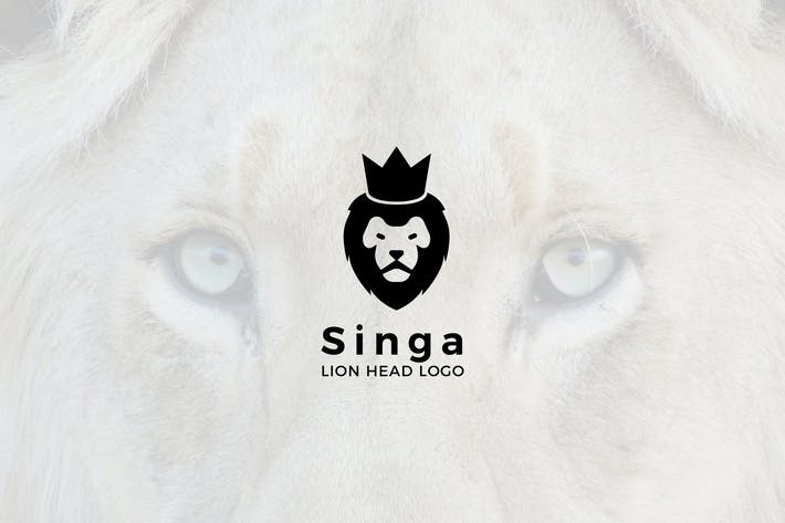 Cover Image For Singa : Negative Space Lion Head Logo