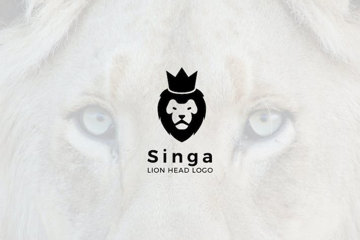 Thumbnail for Singa : Negative Space Lion Head Logo