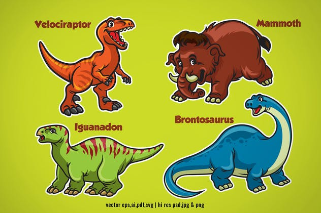set cartoon of baby dinosaurs