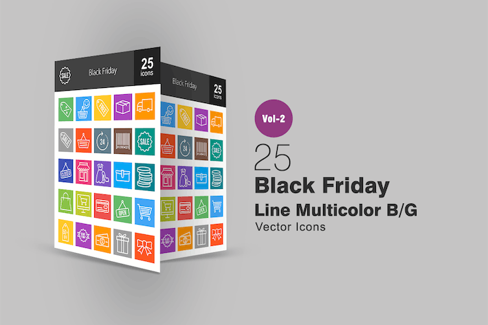 Thumbnail for 25 Black Friday Line Multicolor Icons