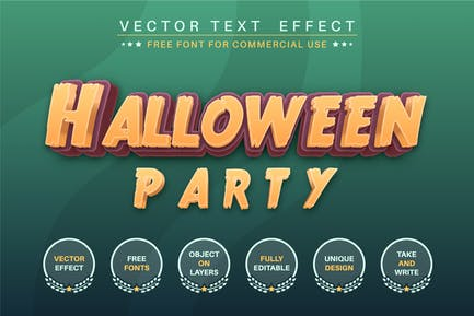 Halloween party - editable text effect, font style
