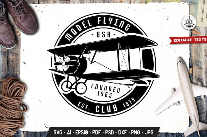 Thumbnail for Airplane Badge Vector Flying Retro Graphic Logo