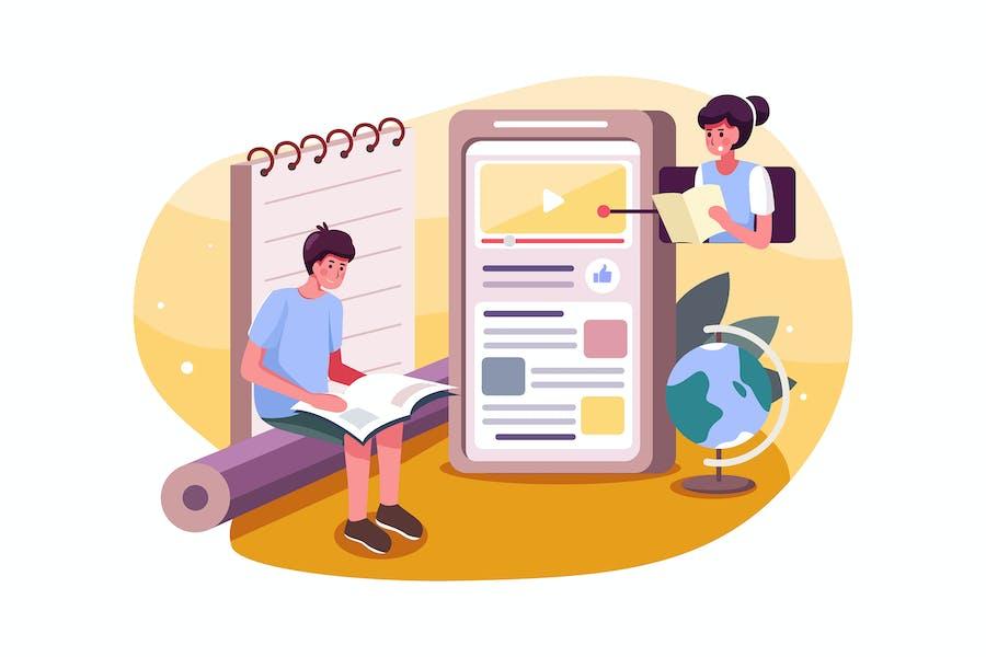 Schuljunge lernen Online-Kurs auf Handy.