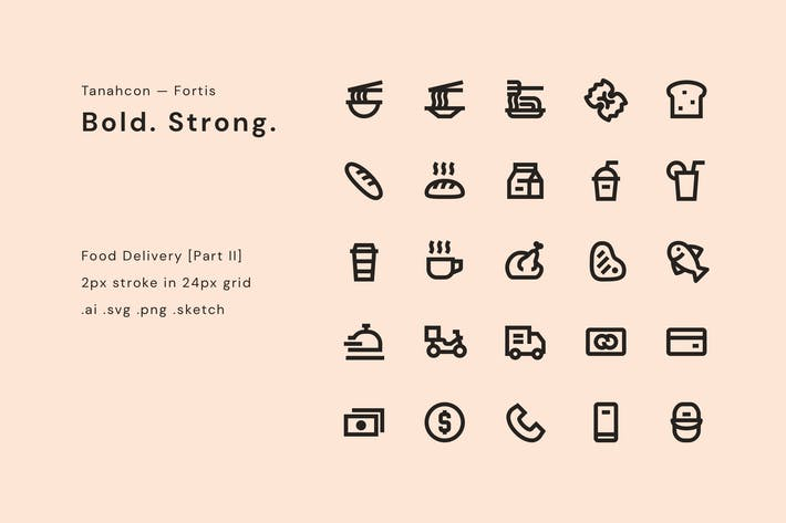 Thumbnail for Food Delivery Icon Set
