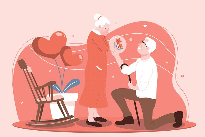 Happy Old Couple - Flat Illustration