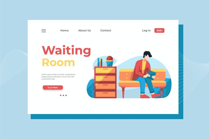 Thumbnail for Waiting Room Landing Page Illustration