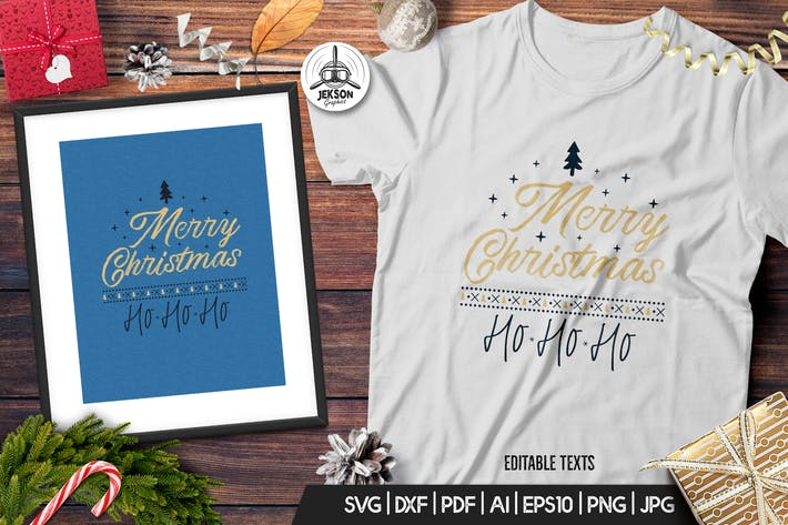 Thumbnail for Merry Christmas TShirt Print Template Retro Design