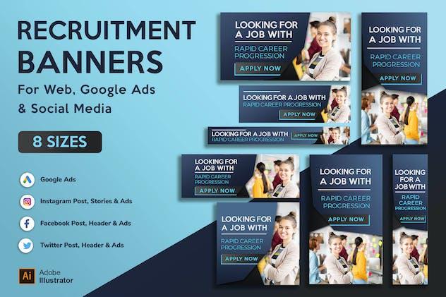 Recruitment, employment & Job Agency banners Ads