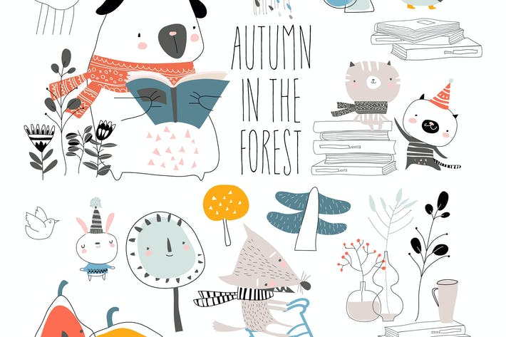 Thumbnail for Set of cute animals with autumn elements. Hello