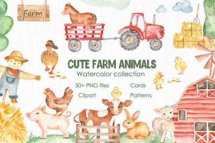 Thumbnail for Watercolor cute farm animals. Collection clipart