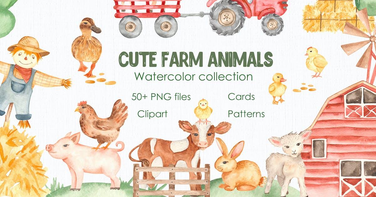 Download Watercolor cute farm animals. Collection clipart by MarinaErmakova