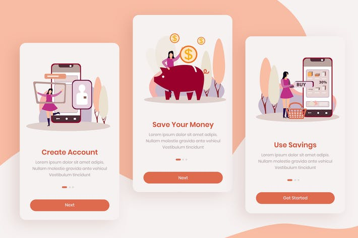 Thumbnail for Money Saver Onboarding App Screens