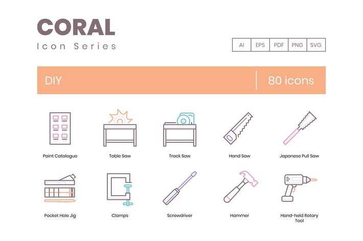 Thumbnail for 80 DIY and Crafting line Icons