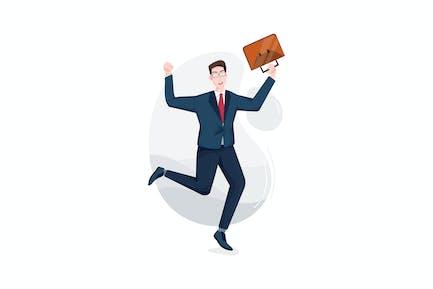 Hombre de negocios saltando felizmente con el maletín