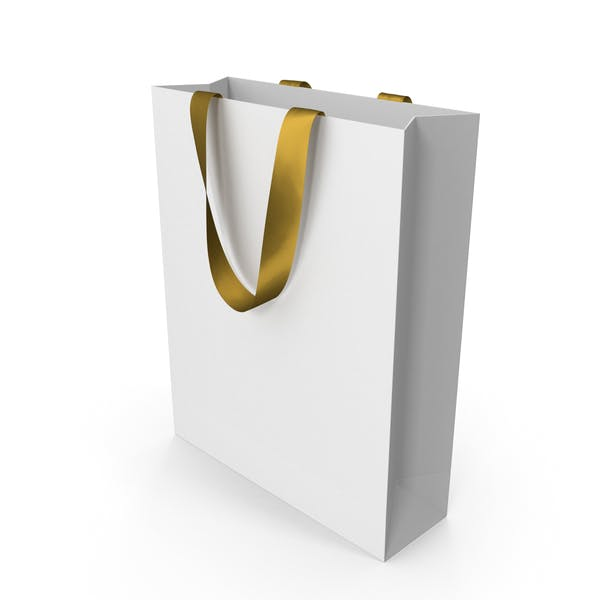 White Bag with Gold Ribbon Handles