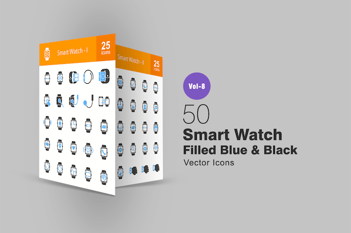 Thumbnail for Smart Watch Blue & Black Icons