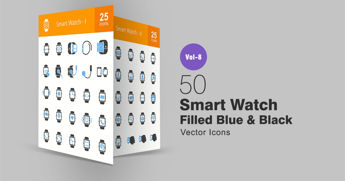 Download Smart Watch Blue & Black Icons by IconBunny