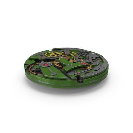 Mecanismo de reloj verde rayado