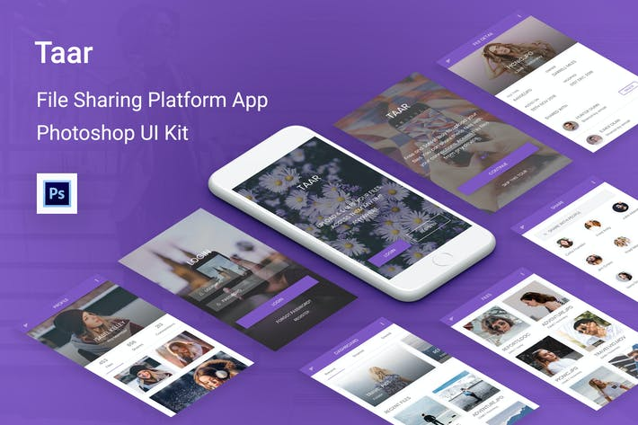 Thumbnail for Taar - File Sharing Platform UI Kit for Photoshop