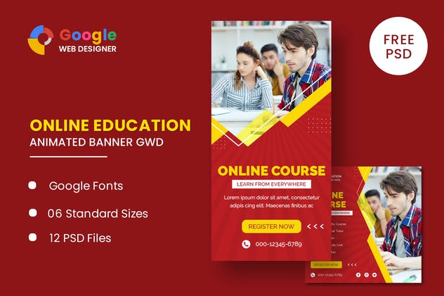Online Course Animated Banner GWD