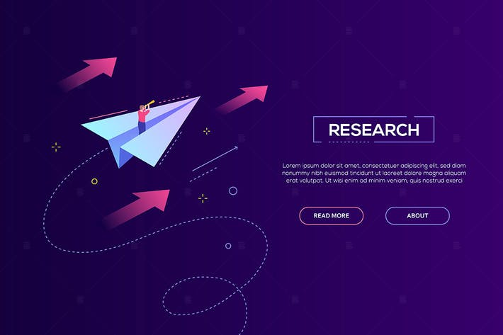 Thumbnail for Business research - isometric vector web banner