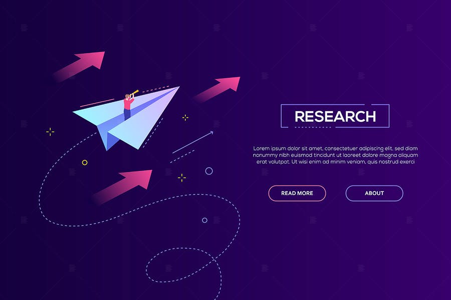 Business research - isometric vector web banner