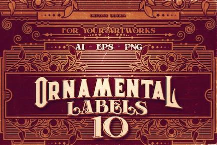 10 étiquettes ornementales