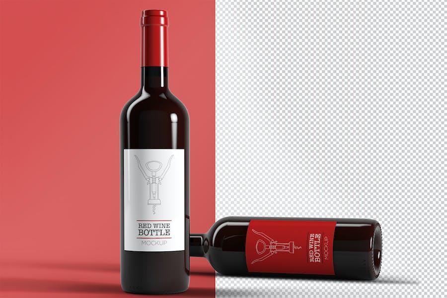 Red Wine Bottles Mockup