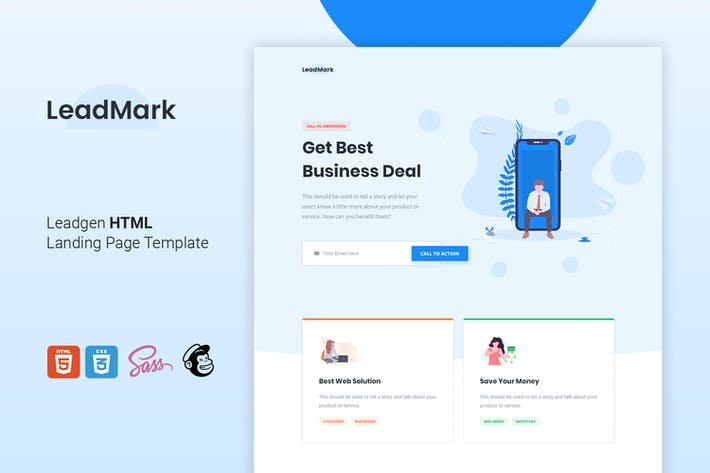 Thumbnail for LeadMark - Leadgen HTML Landing Page Template