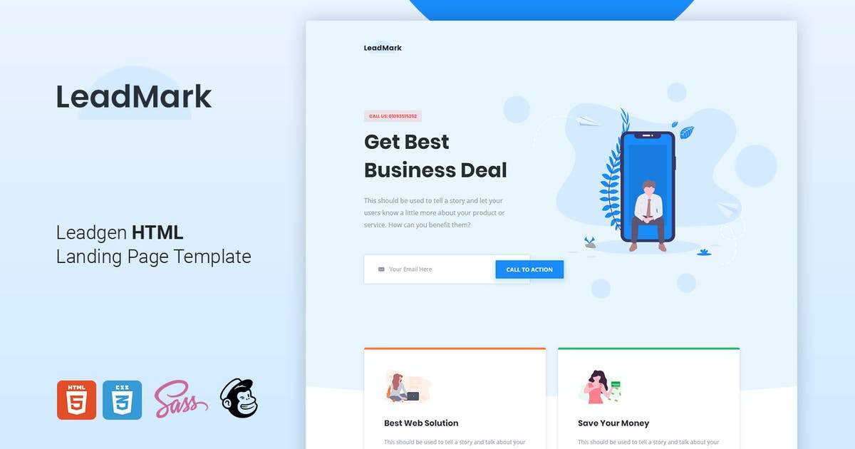 Download LeadMark - Leadgen HTML Landing Page Template by Morad