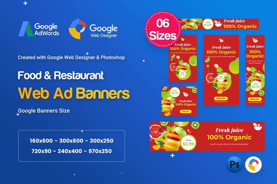 Food & Restaurant Banners HTML5 Ad D80 - GWD & PSD